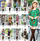 Stylish Womens Multiple Patterns Long Sleeve T-Shirt Tee Blouses Tops Shirtdress