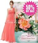 BNWT ELODIE Coral Corsage Chiffon Maxi Prom Evening Bridesmaid Dress UK 6 -18