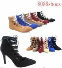 Women's Lace Up Stiletto Flat Heel Pointy Toe Pump Booties Shoes SZ 5 - 10 NEW