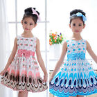 New Kids Girls Bow Belt Sleeveless Bubble Peacock Dress Party Clothing Cheap