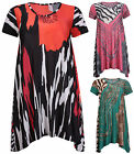 Womens Animal Printed Short Sleeve Ladies Stretch Uneven Hem Dress Top Plus Size