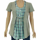 Ladies ex Dorothy Perkins Blue & Green Mock Two-Piece Top Casual New Womens