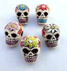 1 x DAY OF THE DEAD SUGAR SKULL WITH FLOWER CERAMIC BEAD PERUVIAN HANDMADE BEAD