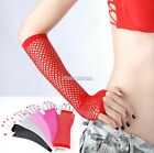 LADY LONG FANCY DRESS FINGERLESS FISHNET GLOVES NEON COLOURS FOR 80s DANCE TUTU