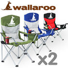 2x WALLAROO FOLDABLE FOLDING CAMPING CHAIR BEACH OUTDOOR PICNIC TRAVEL CAMP SEAT