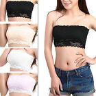 WOMEN CHIC LACE STUNNING CROP BOOB TUBE TOP BANDEAU BRA STRAPLESS SEAMLESS SOLID