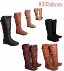 Low Flat Heel Round Toe Zipper Riding Buckle Knee High Boot Shoes  Size 6 -10