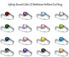 Round Cut Infinity Celtic CZ Birthstone Genuine Sterling Silver Ring Size 3 - 12