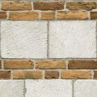 NEW MURIVA LARGE BRICK FAUX STONE WALL EMBOSSED BLOWN VINYL WASHABLE WALLPAPER