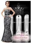 BNWT ANGELINE Black White Maxi Full Length Prom Evening Ballgown Dress UK 8 -18