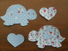 TORTOISES X 2  in dotty/floral shabby chic IRON ON FABRICS for Applique Sewing
