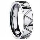 Mens Ladies Tungsten Carbide Engagement Wedding Ring Band Tooth 6mm