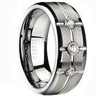 Ladies Mens Tungsten Carbide Engagement Wedding Ring Band Lab Diamond 8mm