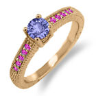 0.64 Ct Round Blue Tanzanite Pink Sapphire 925 Rose Gold Plated Silver Ring