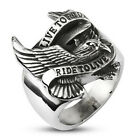 """Live to Ride, Ride to Live"" Steel Eagle Men Biker Ring Size 9 10 11 12 13 14 15"