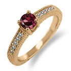 0.81 Ct Round Red Rhodolite Garnet White Diamond 18K Rose Gold Engagement Ring
