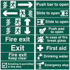 Fire Door Exit Green Self Adhesive Office Emergency Workplace Signs - 200x50mm