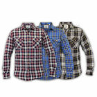 mens shirts Soul Star flannel checked tartan slim fit collared vintage cotton