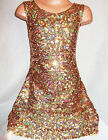 GIRLS 60s STYLE GOLD SPARKLY GLITZY HOLOGRAPHIC SEQUIN DANCE DISCO PARTY DRESS
