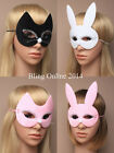 NEW CAT RABBIT FACE EYE MASK MASQUERADE PARTY FANCY DRESS BLACK PINK WHITE BUNNY