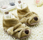 Baby Boy Girl 3D Bear Winter Boots Faux Fleece Lined Crib Shoes 0-18 Month/K5