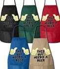 This Guy Needs A Beer / BBQ Grilling Apron - 2 Pockets / 5 Colors To Choose From