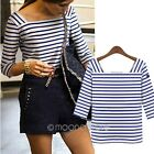 2014 Summer Autumn Womens Lady 3/4 Sleeve Striped Square Neck T-shirt Top Blouse