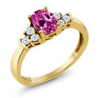 0.84 Ct Pink Created Sapphire White Topaz 925 Yellow Gold Plated Silver Ring
