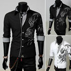 Crazy Sale Men's Dragon Design Shirt Slim Fit Casual Dress Shirt UK Black White