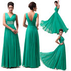 Green Sexy V Neck Formal Evening Ball Gowns Bridesmaid Cocktail Party Dress Prom