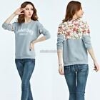 Women Loose Crewneck Sweatshirt Lace Splicing Casual Hoodies Blouse Tops Fashion