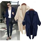 Women Cardigan Chiffon Big Lapel Jacket Coat Winter Long Outwear Top Fashion