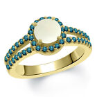 1.15 Ct Round Cabouchon White Opal Blue Diamond 18K Yellow Gold Ring