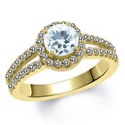 1.25 Ct Round Sky Blue Aquamarine White Created Sapphire 14K Yellow Gold Ring