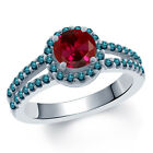 1.50 Ct Round Red Created Ruby Blue Diamond 18K White Gold Ring