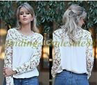 Latest Women Sheer Sleeve Embroidery Lace Crochet Tee Chiffon Shirt Top Blouse
