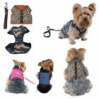 Pet Dog Puppy Cute Poly Cotton Leopard Harness w Leash Chain Strap Rope Clothes