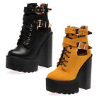 WOMENS CLEATED CHUNKY PLATFORM LADIES BLOCK HEEL ANKLE BOOTS SHOES SIZE 3-8