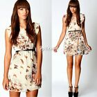 Women Casual Floral Butterfly Print Party Summer Skater Swing Mini Dress DZ88