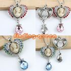 1x Retro Crystal Cameo Lady Queen Heart Dangle Pendant Charms For Necklace Chain
