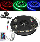 Black PCB 5M 5050 RGB 300LED SMD Strip Waterproof 24Key IR 12V 5A Power Supply
