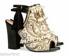 H&M Conscious Exclusive Beige Embroidered Leather Sandals Shoes UK 5 US 7 EU 38