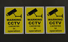 Pack of 3 Warning CCTV Cameras In Operation Security Sign - Sticker & Plastic