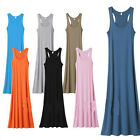WOMENS LADIES JERSEY MUSCLE RACER BACK MAXI LONG VEST SUMMER DRESS