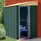 PENT LEAN TO METAL GARDEN SHED 6 X 4FT IN GREEN AND CREAM