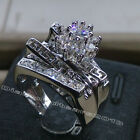 Size6/7/8/9/10 jewelry 10kt white gold filled topaz Gem Wedding women Ring set