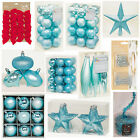 ICE BLUE Collection Christmas Decorations Baubles Stars Cones Tinsel Tree Topper