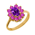 1.25 Ct Oval Purple Amethyst Pink Sapphire 18K Yellow Gold Ring