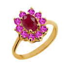 1.52 Ct Oval Red Ruby Pink Sapphire 18K Yellow Gold Ring