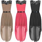 NEW WOMENS LADIES LACE TOP CHIFFON BELTED MAXI DRESS BLACK ASYMMETRIC LOOK SKIRT